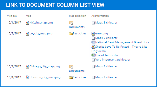 Link to Document Column(英語版) のスクリーンショット