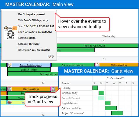 Screenshot of Master Calendar