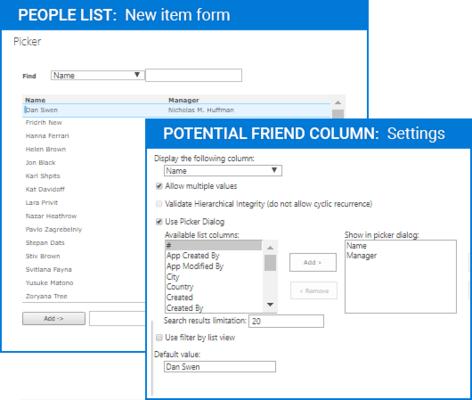 Screenshot of Parent Selector Column