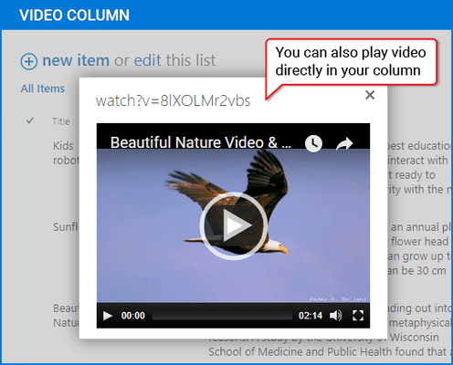 Screenshot of Video Column & Web Part