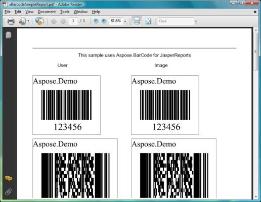 Screenshot of Aspose.BarCode for JasperReports
