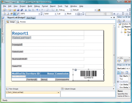 Screenshot of Aspose.BarCode for Reporting Services (SSRS)