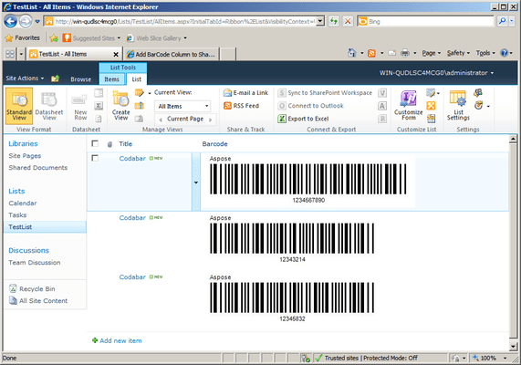Captura de tela do Aspose.BarCode for SharePoint