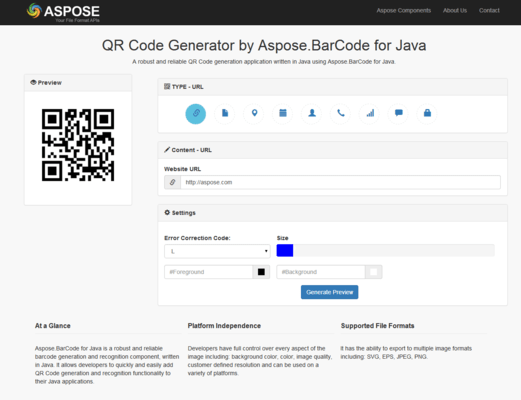 Aspose.BarCode for Java 스크린샷