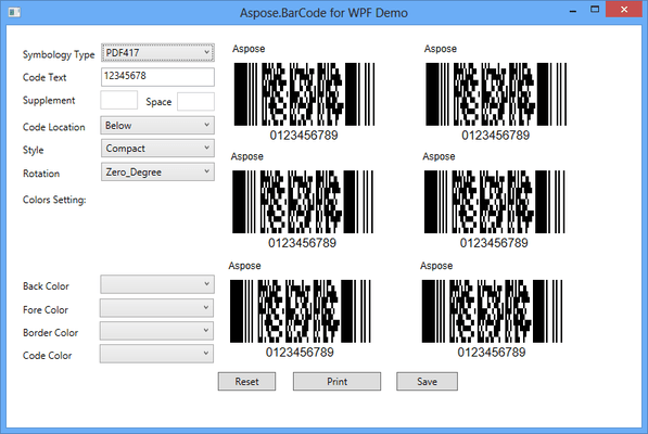 Screenshot of Aspose.BarCode Product Family