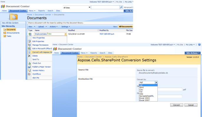 Screenshot of Aspose.Cells for SharePoint