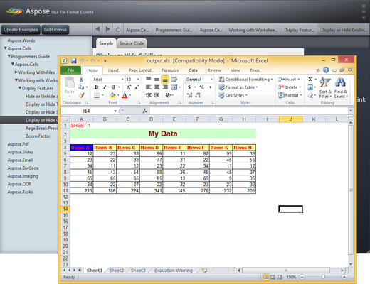 Screenshot of Aspose.Cells for Java