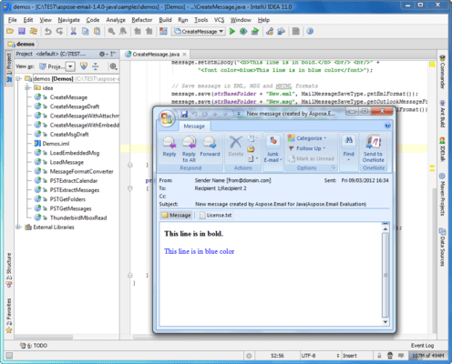 Aspose.Email for Java(英語版) のスクリーンショット
