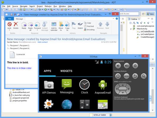 Aspose.Email Product Family(英語版) のスクリーンショット