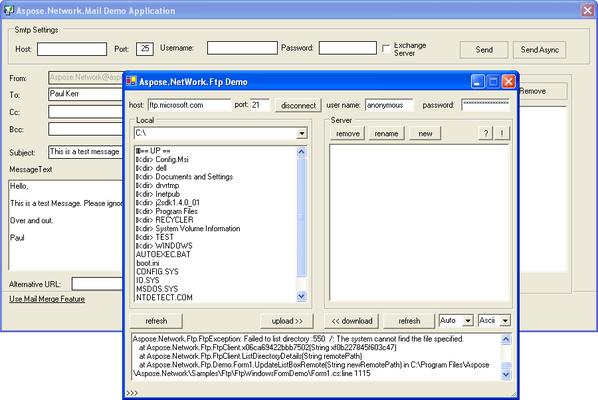 Screenshot of Aspose.Network for .NET