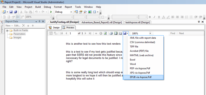 Screenshot of Aspose.Pdf for Reporting Services (SSRS)