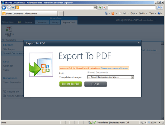 Screenshot of Aspose.PDF for SharePoint