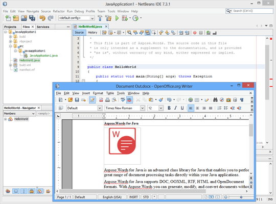 Screenshot of Aspose.Words for Java