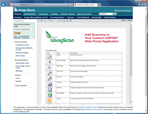 Screenshot of Atalasoft WingScan