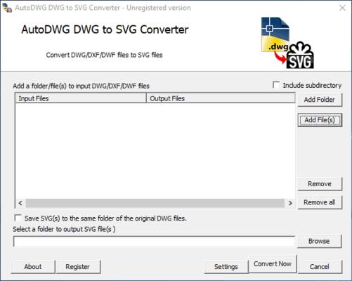 Screenshot of AutoDWG DWG to SVG Converter