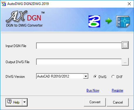 Screenshot of DGN to DWG Converter