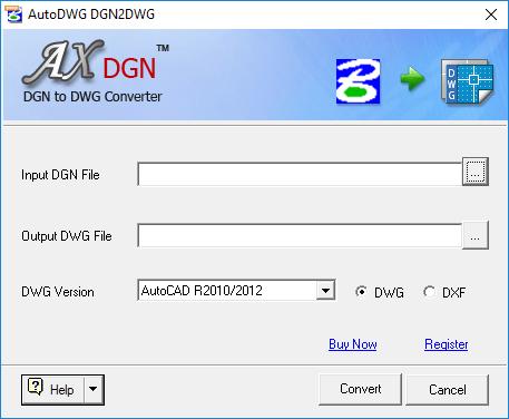 Screenshot of DGN to DWG Converter