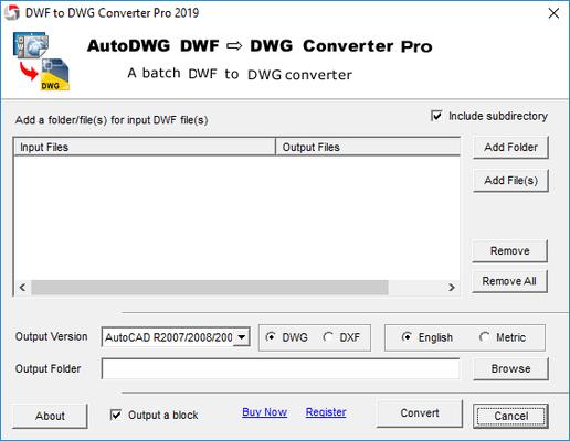 Screenshot of DWF to DWG Converter