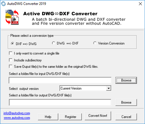 Screenshot of DWG DXF Converter