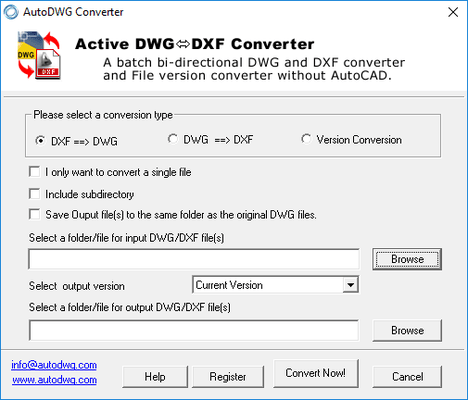 Screenshot of DWG DXF Converter