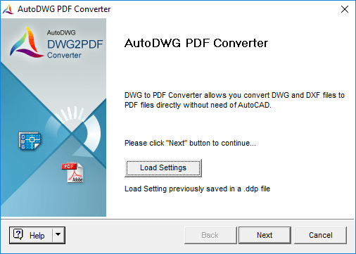 Screenshot of DWG to PDF Converter