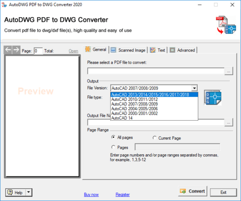 Screenshot of PDF to DWG Converter