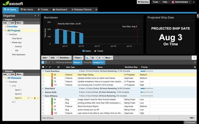Screenshot of Axosoft