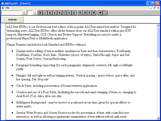 Screenshot of ALLText HT/Pro - OCX/VBX