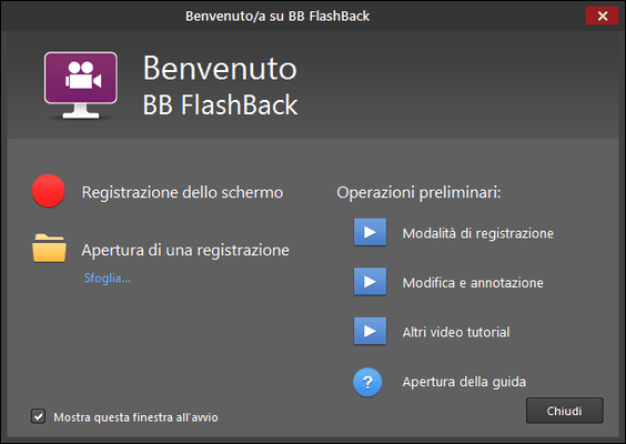 Screenshot of FlashBack Pro Italian Edition
