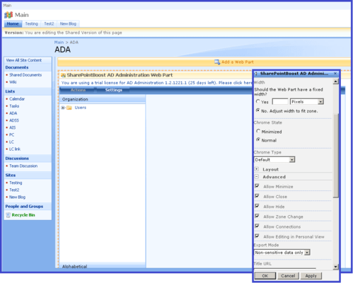 Screenshot of SharePoint AD Administration