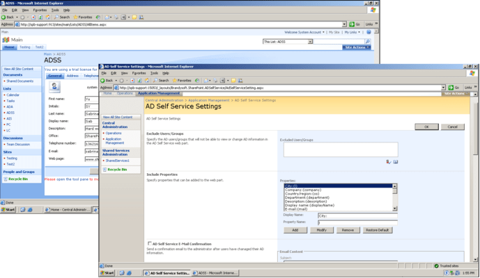 Screenshot of SharePoint AD Self Service