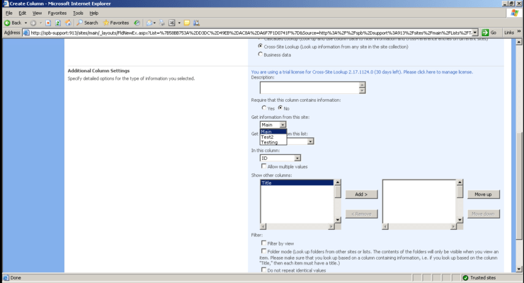 Screenshot of SharePoint Cross-Site Lookup