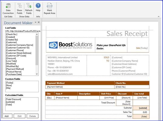 Screenshot of SharePoint Document Maker
