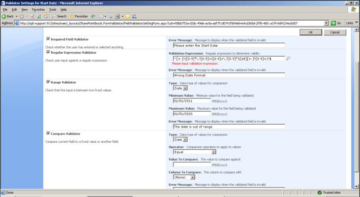 Capture d'écran de SharePoint Form Validation