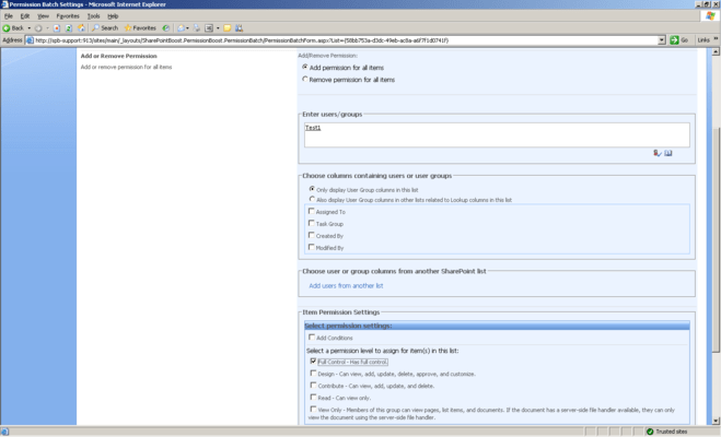 Screenshot of SharePoint Item Permission Batch
