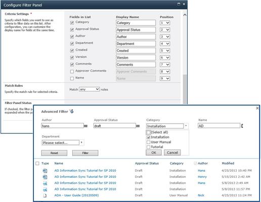 SharePoint List Advanced Filter 屏幕截图