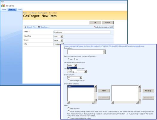 Captura de tela do SharePoint Lookup Pack