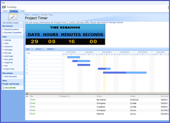 Screenshot of SharePoint Project Timer