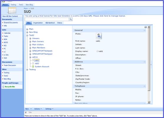 Screenshot of SharePoint Site User Directory