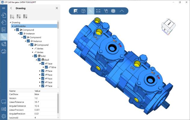 Screenshot of CST CAD Navigator