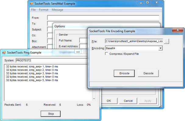 Screenshot von SocketTools ActiveX Edition