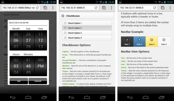 Screenshot of IWCGjQuery Mobile Suite