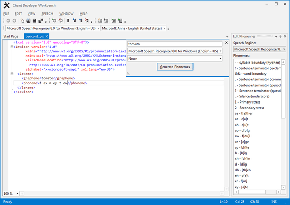 Screenshot of Chant LexiconKit