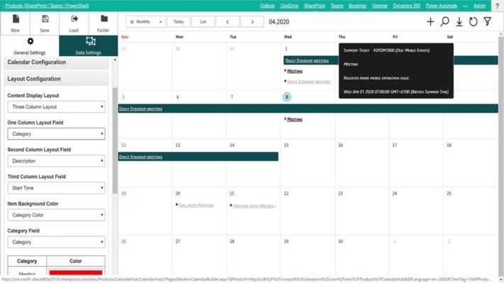 Screenshot of SharePoint Calendar Hub