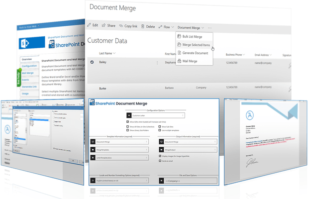 Screenshot of SharePoint Document Merge