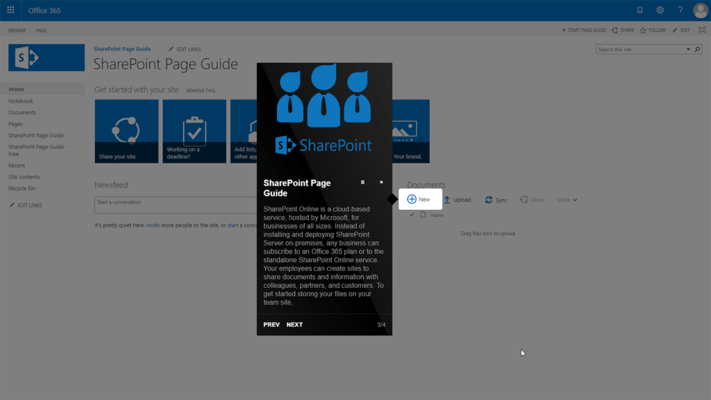 Screenshot of SharePoint Page Guide