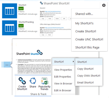 Screenshot of SharePoint ShortUrl