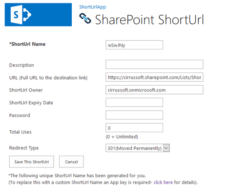 Capture d'écran de SharePoint ShortUrl