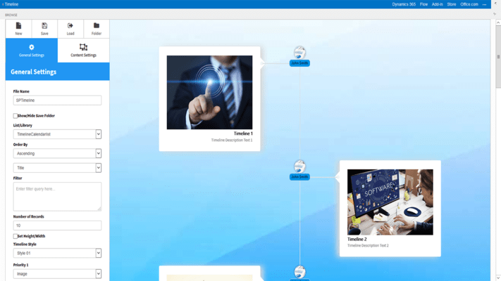 Screenshot of SharePoint Timeline