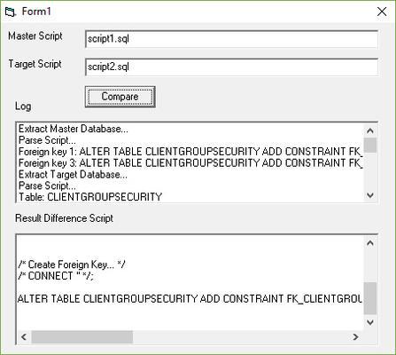 Screenshot of Database Comparer ActiveX for ASP, VBScript, JavaScript